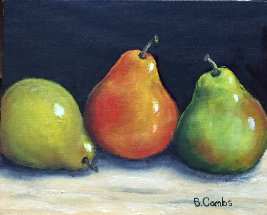 """Three Pears"" original fine art by Bebe Combs"