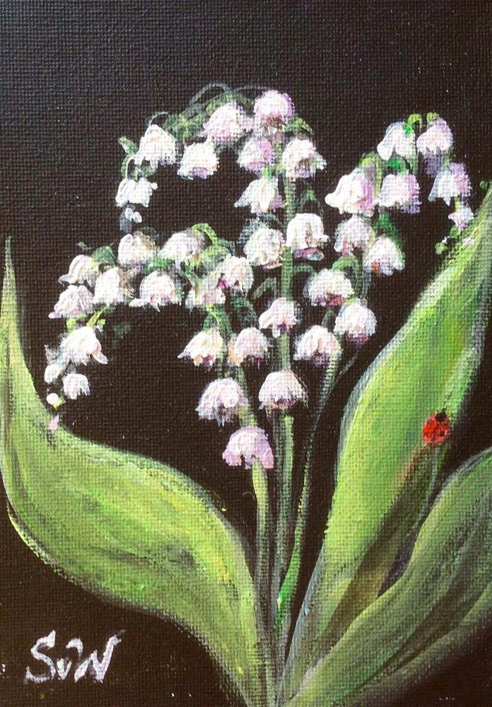 """Lily of the valley with ladybug 3"" original fine art by Sonia von Walter"