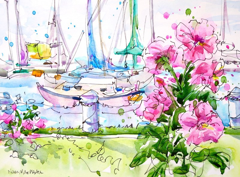 """harbourfront hollyhocks"" original fine art by Nora MacPhail"