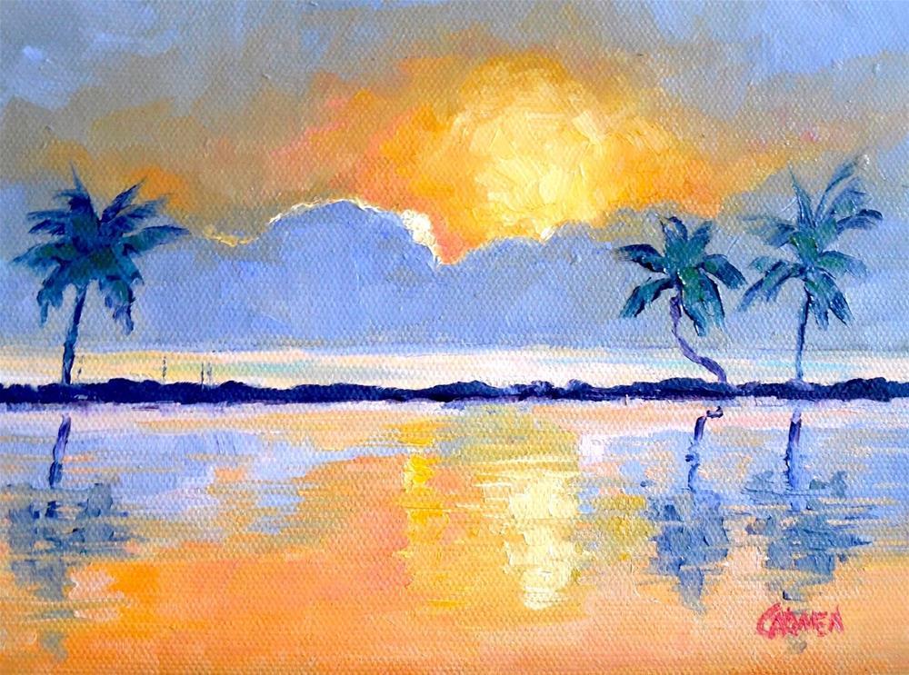 """Sunset Palms, Seascape, 8x6 Oil on Canvas Panel"" original fine art by Carmen Beecher"
