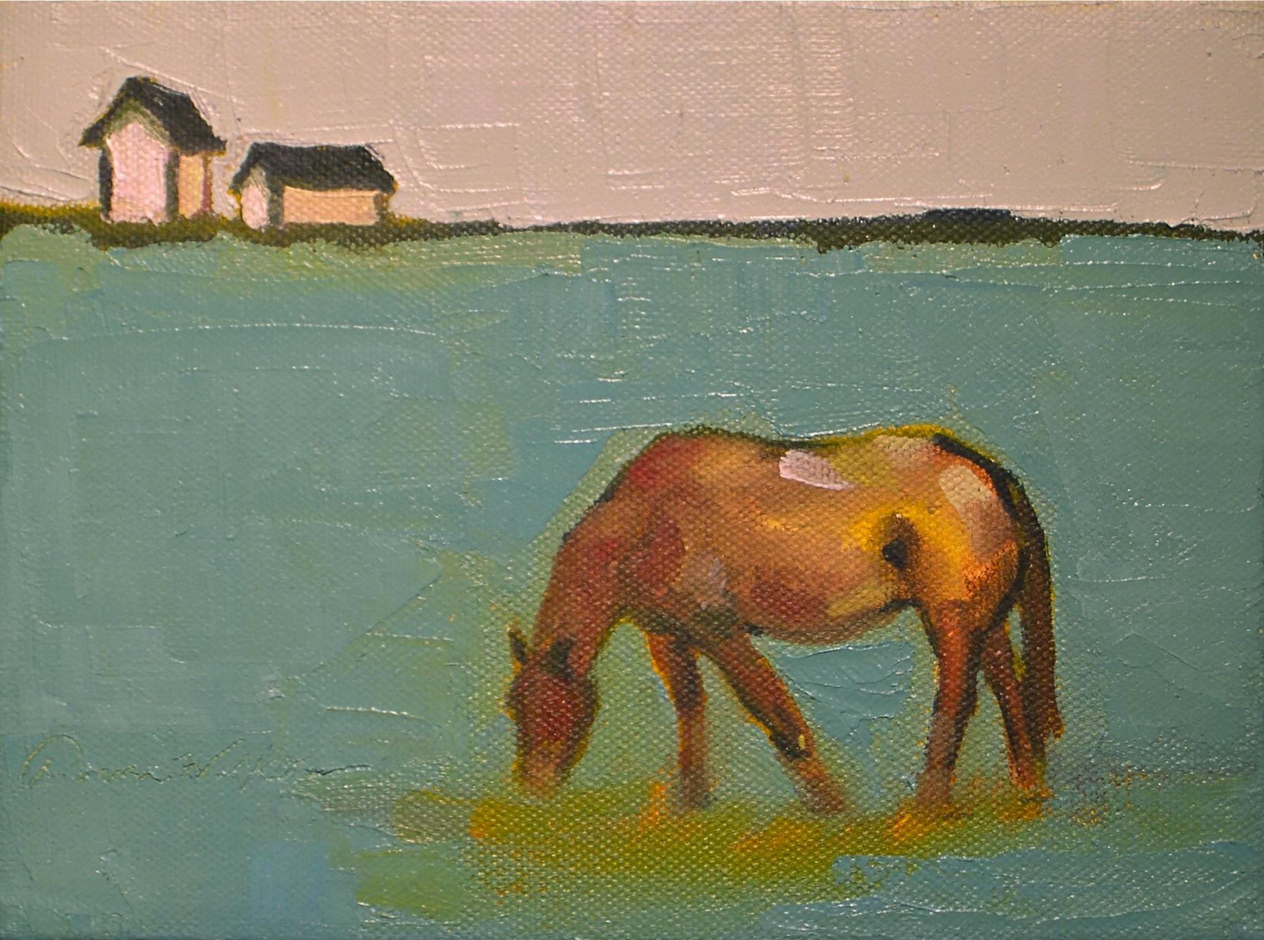 """Chestnut on the Blue Grass"" original fine art by Donna Walker"