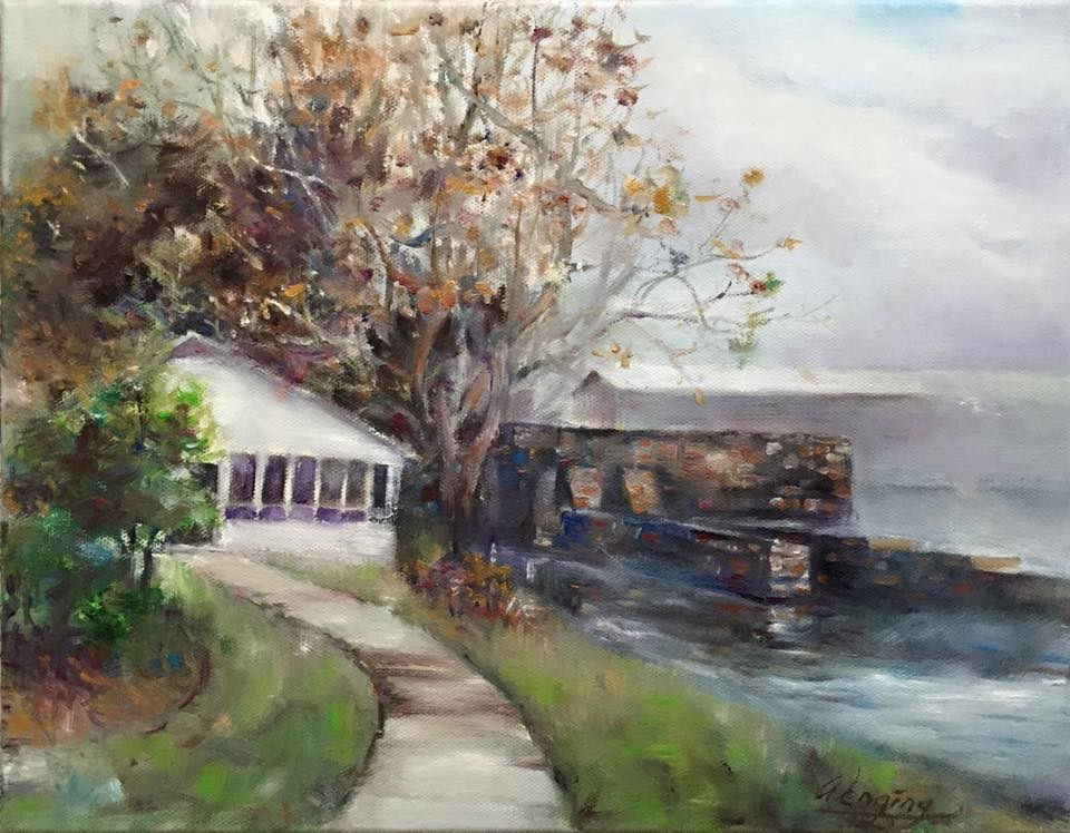 """""""fogging morning in the augusta canal"""" original fine art by Wenqing Xu"""