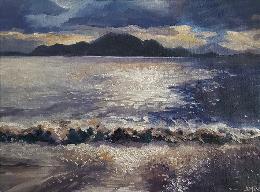 """Sunset Over The Waves"" original fine art by J M Needham"