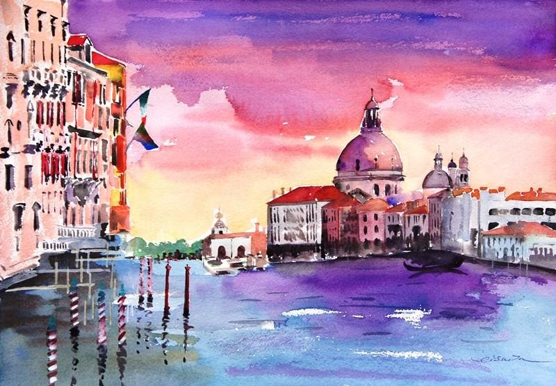 """""""Venice in Love-2"""" original fine art by Lisa Fu"""