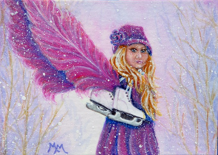 """Skatie - A Little Angel"" original fine art by Monique Morin Matson"