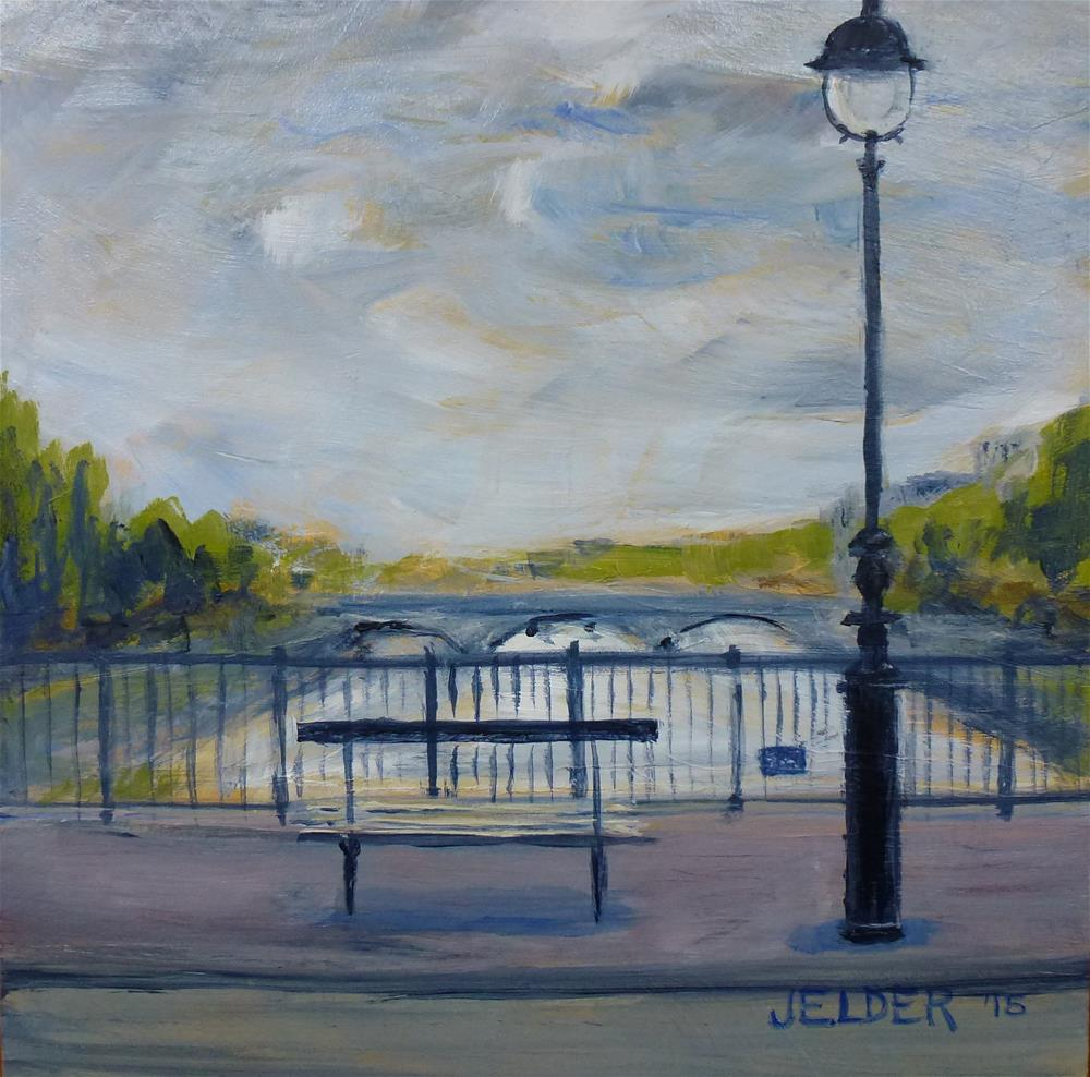 """""""By the Seine, Paris No. 95"""" original fine art by Judith Elder"""