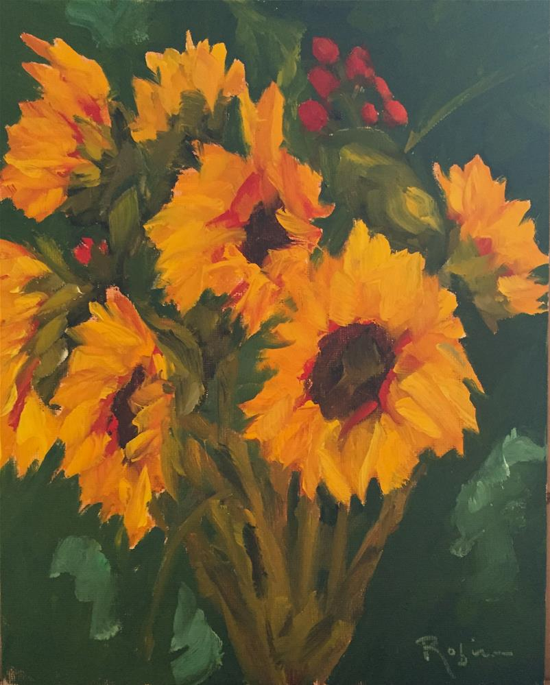 """""""Sunflowers with Alice"""" original fine art by Renee Robison"""