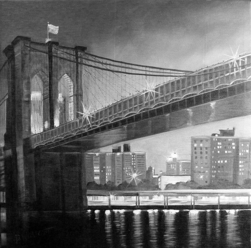 """""""Bridge at night"""" original fine art by Donna Whatcott Parsons"""