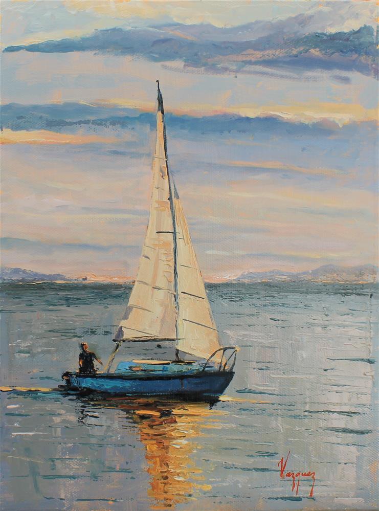 """Sailing at sunset "" original fine art by Marco Vazquez"
