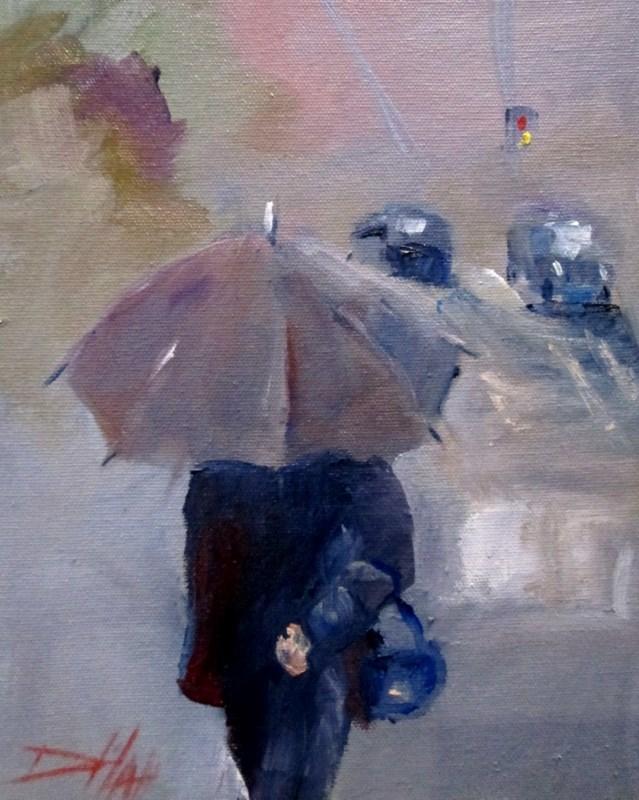 """Gray Rain"" original fine art by Delilah Smith"