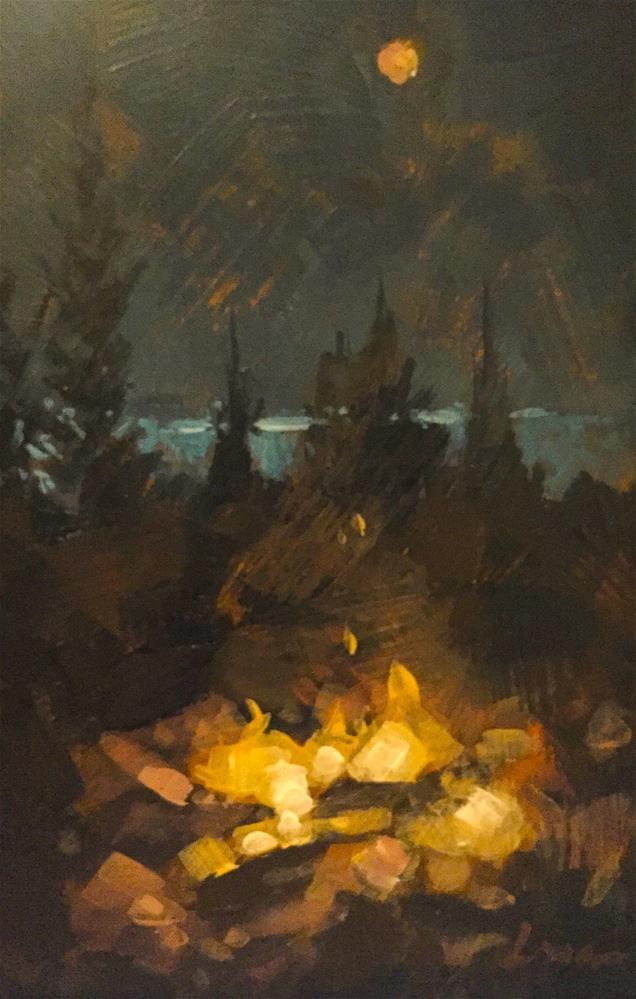 """""""Maine Campfire"""" original fine art by Chris Long"""