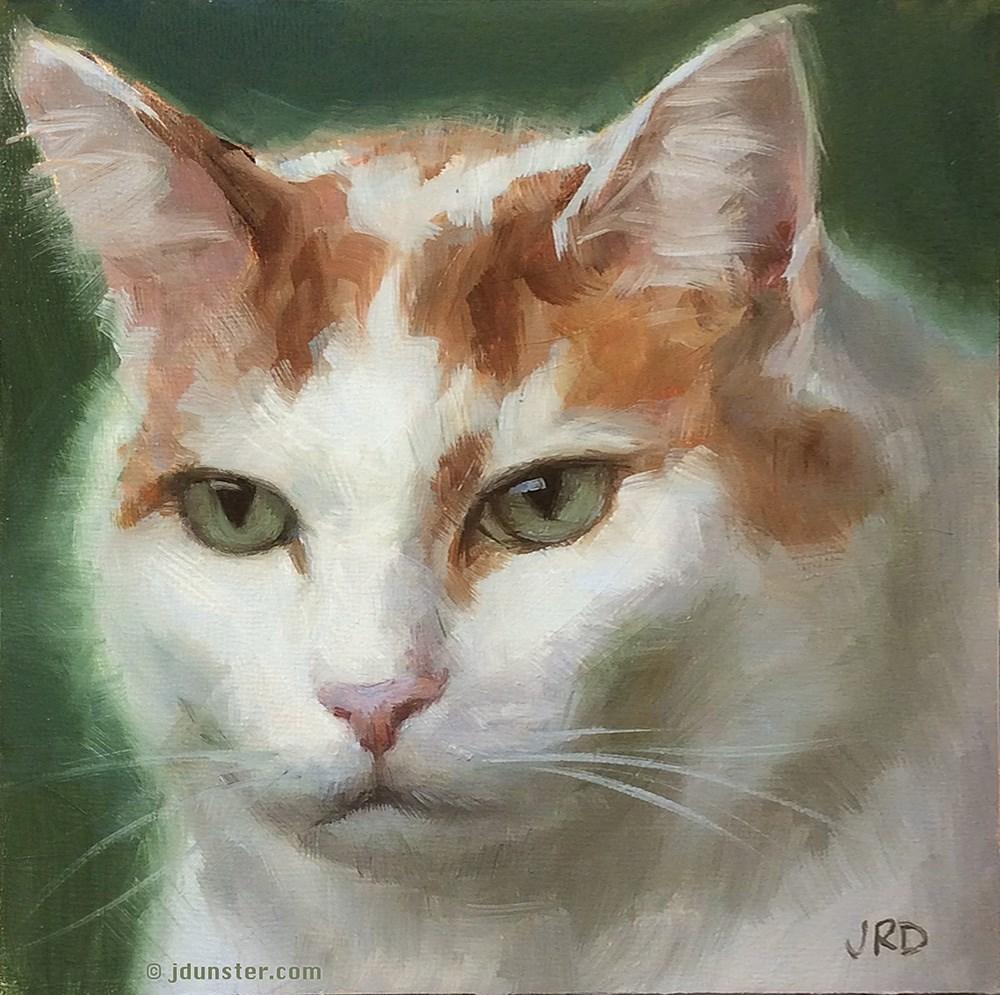 """Pleasantly Plump Pussycat"" original fine art by J. Dunster"