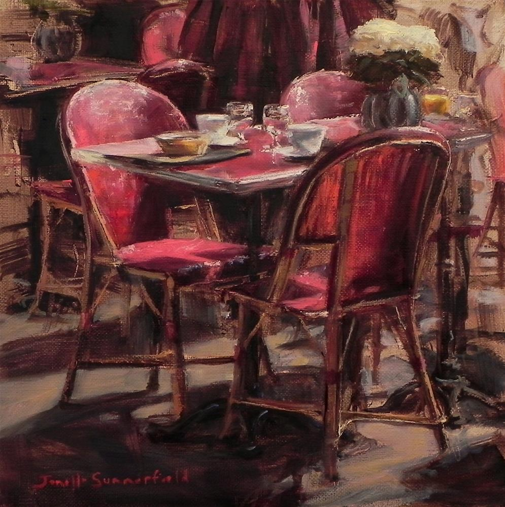 """Cafe Table in Honfleur"" original fine art by Jonelle Summerfield"