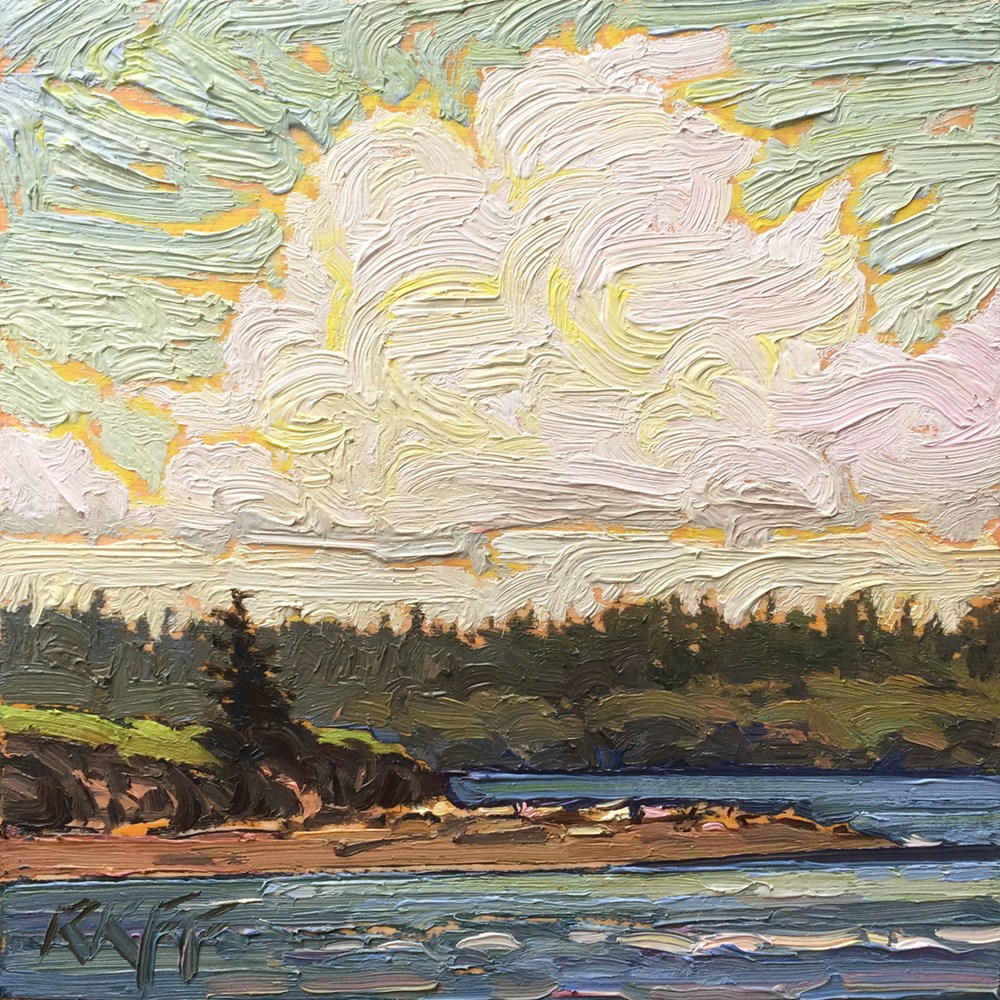 """Sunny Coast: 6x6 oil on panel"" original fine art by Ken Faulks"