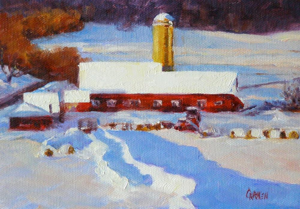 """Snowy Farm"" original fine art by Carmen Beecher"