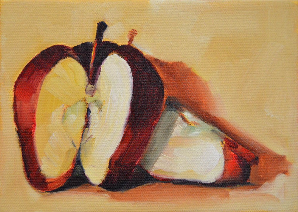 """Red Apple Pieces"" original fine art by Cheryl Wilson"