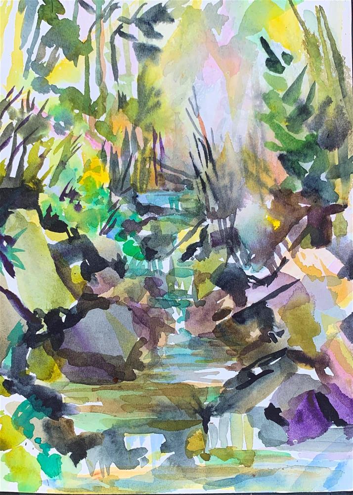 """""""Cottonwood Creek, Westcliffe, Colorado"""" original fine art by Jean Krueger"""
