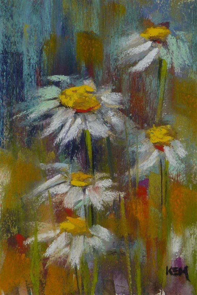 """Demo Monday ...Painting Daisies in Pastel"" original fine art by Karen Margulis"