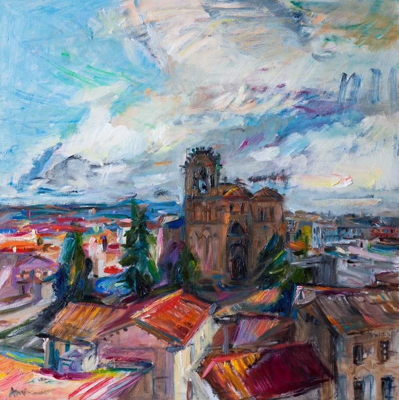 """The view of the Basilica de San Vicente from the Walls of Avila"" original fine art by Anna Fine Art"