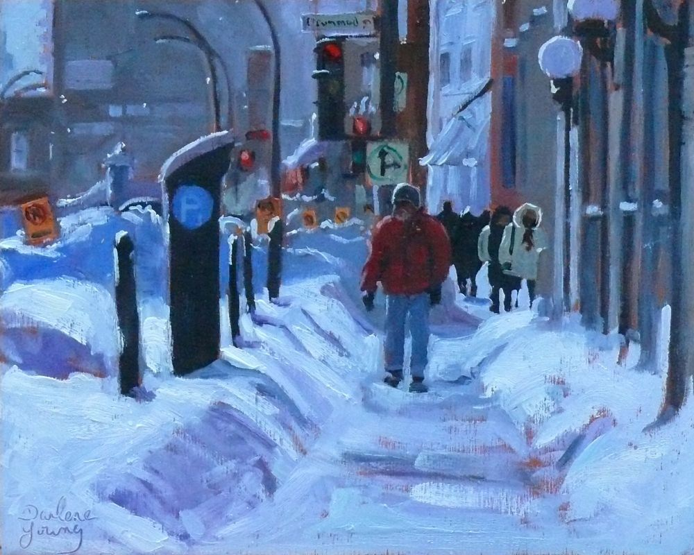 """568 Montreal Downtown Winter"" original fine art by Darlene Young"
