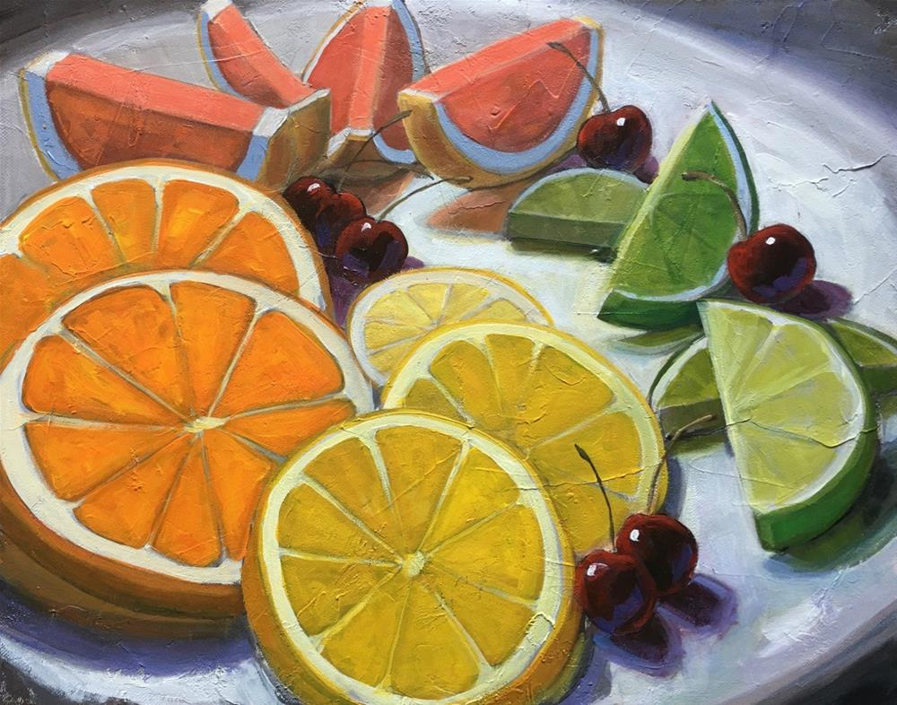 """Fruit Platter"" original fine art by Linda Marino"