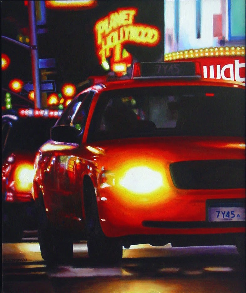 """Head Lights - Street Scene Painting Of Yellow Cab New York"" original fine art by Gerard Boersma"