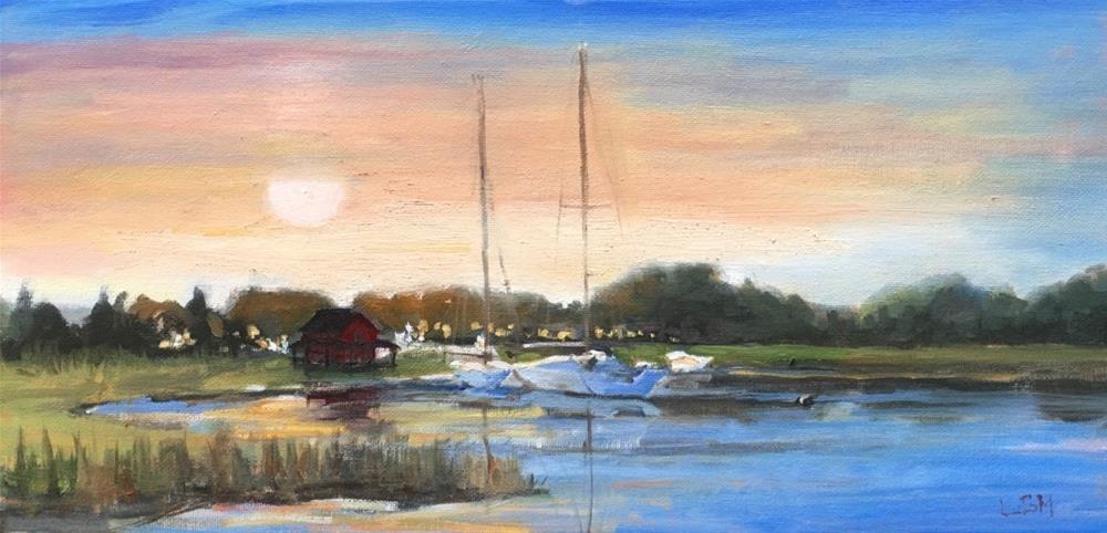 """Be Still Day's End- Grass Island Guilford, CT"" original fine art by Linda Marino"