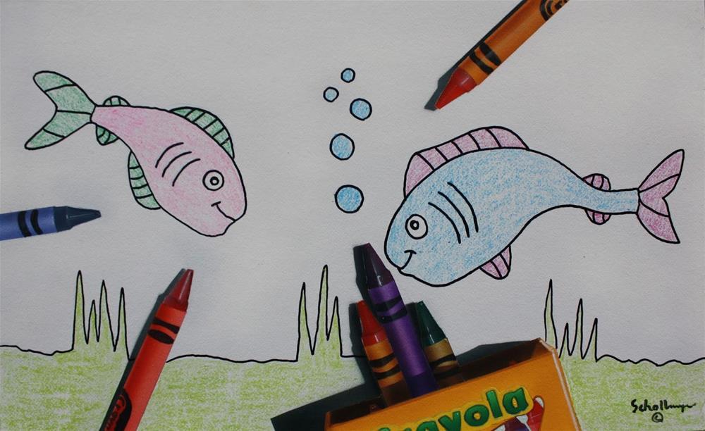 """""""Fishy Fun"""" original fine art by Fred Schollmeyer"""