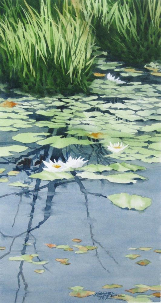 """""""Lily Pond Demonstration"""" original fine art by Karen Werner"""