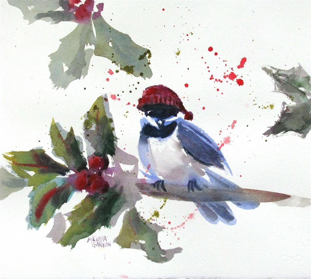 """Christmas Chickadee"" original fine art by Melissa Gannon"