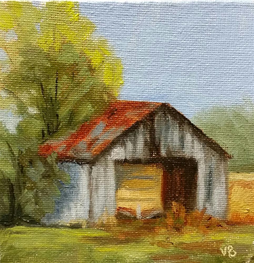 """Machinery storage-mini barn painting"" original fine art by Veronica Brown"