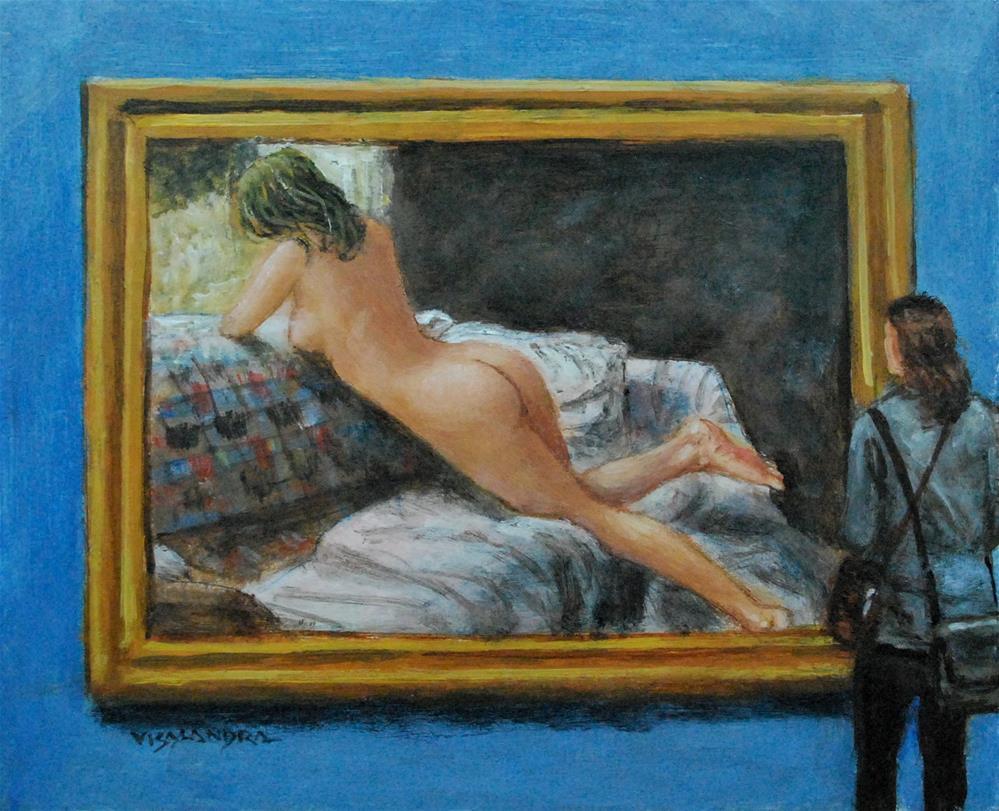 """museum visitor22"" original fine art by vishalandra dakur"