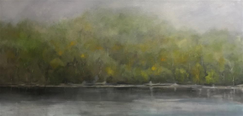 """trees along the river bank at dawn"" original fine art by Betty Argiros"
