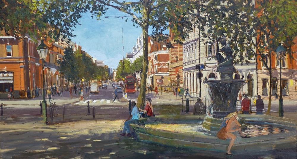 """Summer Shadows, Sloane Square II"" original fine art by Adebanji Alade"