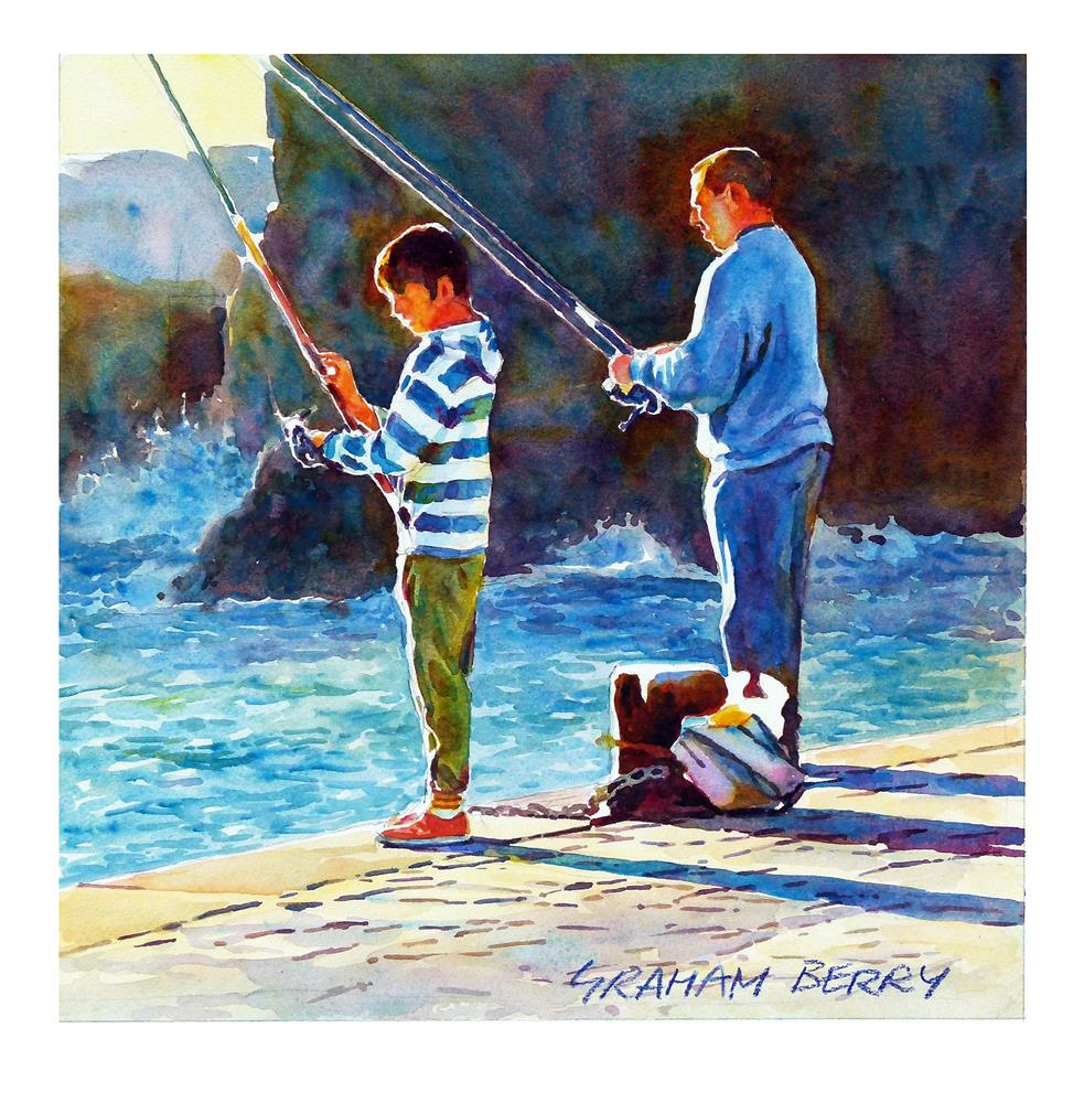 """""""Early morning fishing."""" original fine art by Graham Berry"""
