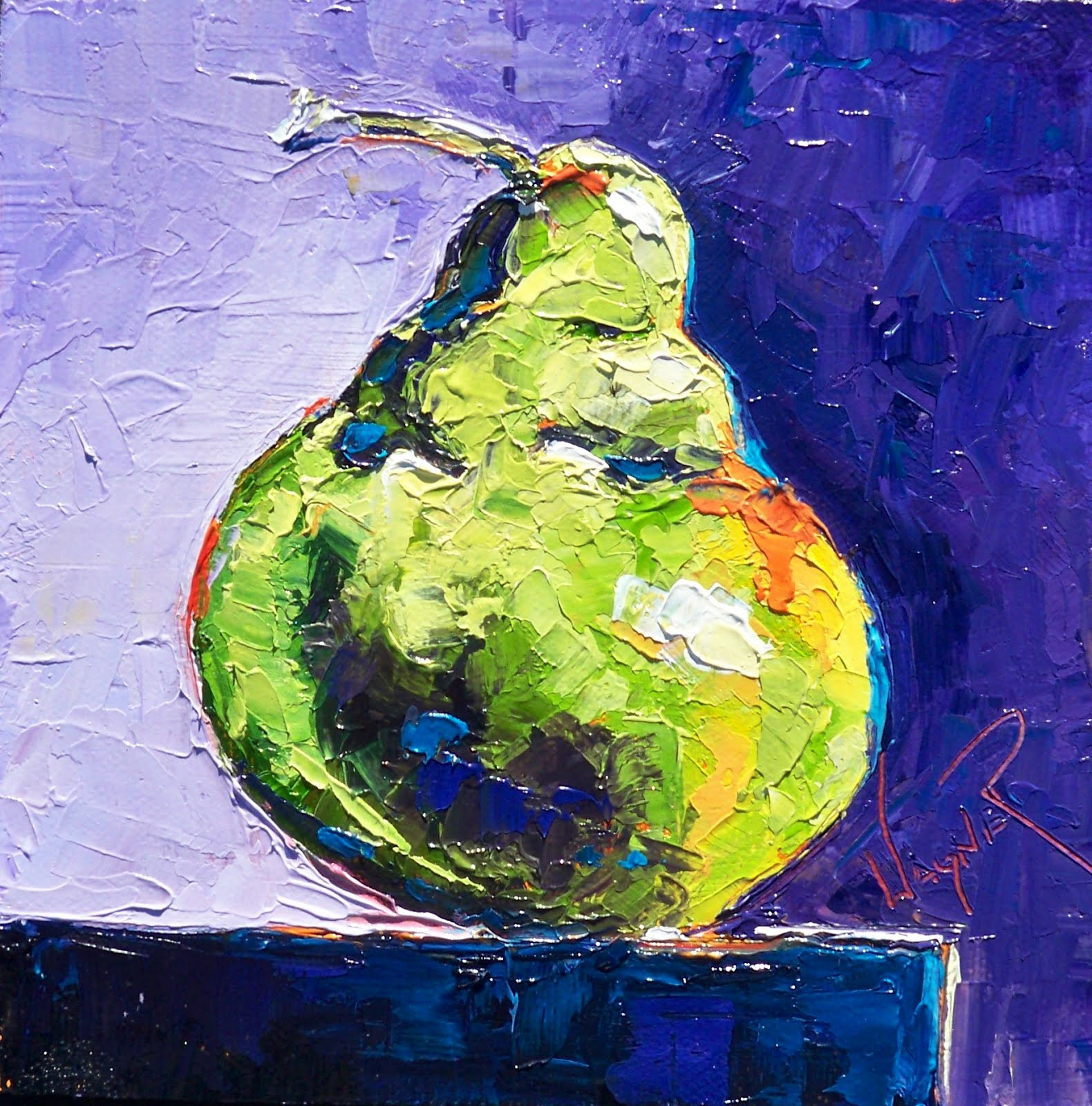 """GREEN BARTLETT PEAR ON DRAMATIC PURPLE BACKGROUND"" original fine art by Olga Wagner"