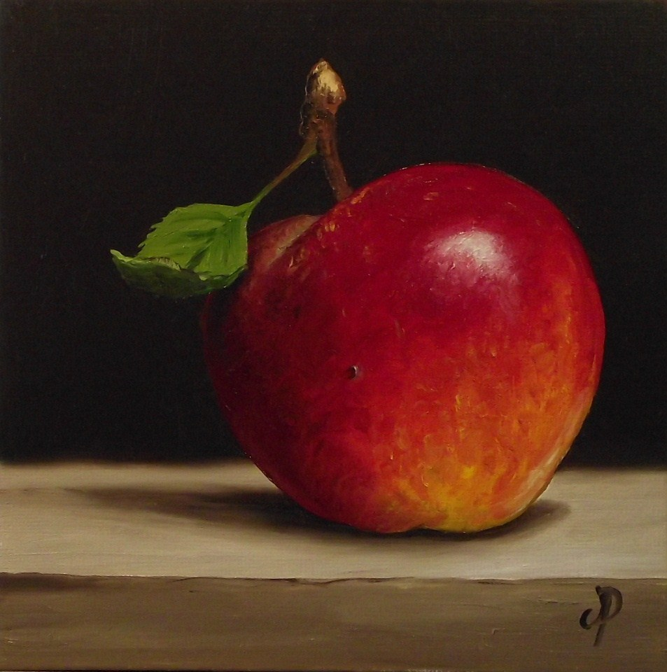 """Red Falstaff Apple #2"" original fine art by Jane Palmer"