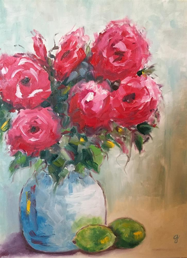 """""""Roses and Limes"""" original fine art by Gayle Lambeth"""