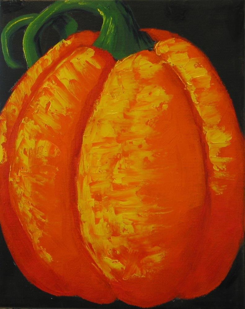"""Pushing Pumpkins"" original fine art by Patricia Murray"