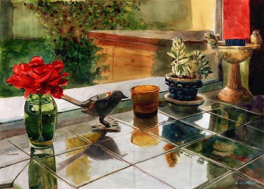 """Watercolor: Kitchen Sunset (& photos from the San Diego Artwalk)"" original fine art by Belinda Del Pesco"