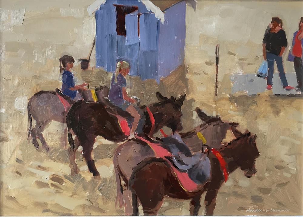"""Donkeys on the beach"" original fine art by Haidee-Jo Summers ROI"
