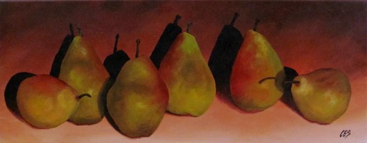"""Pears in a Row"" original fine art by ~ces~ Christine E. S. Code"