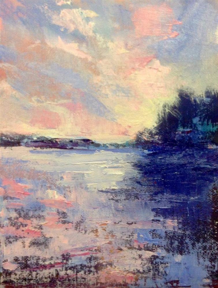 """Lakeside Silhouette"" original fine art by Cathy Boyd"