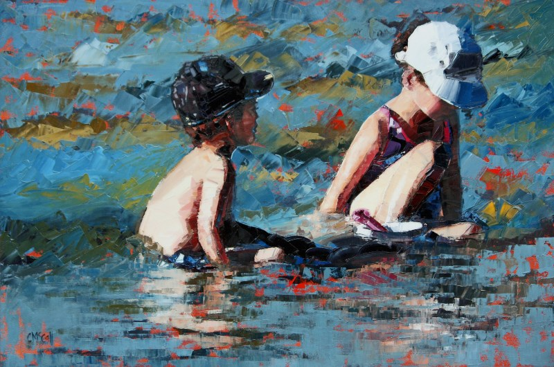 """""""Playing In The Shallows III"""" original fine art by Claire McCall"""