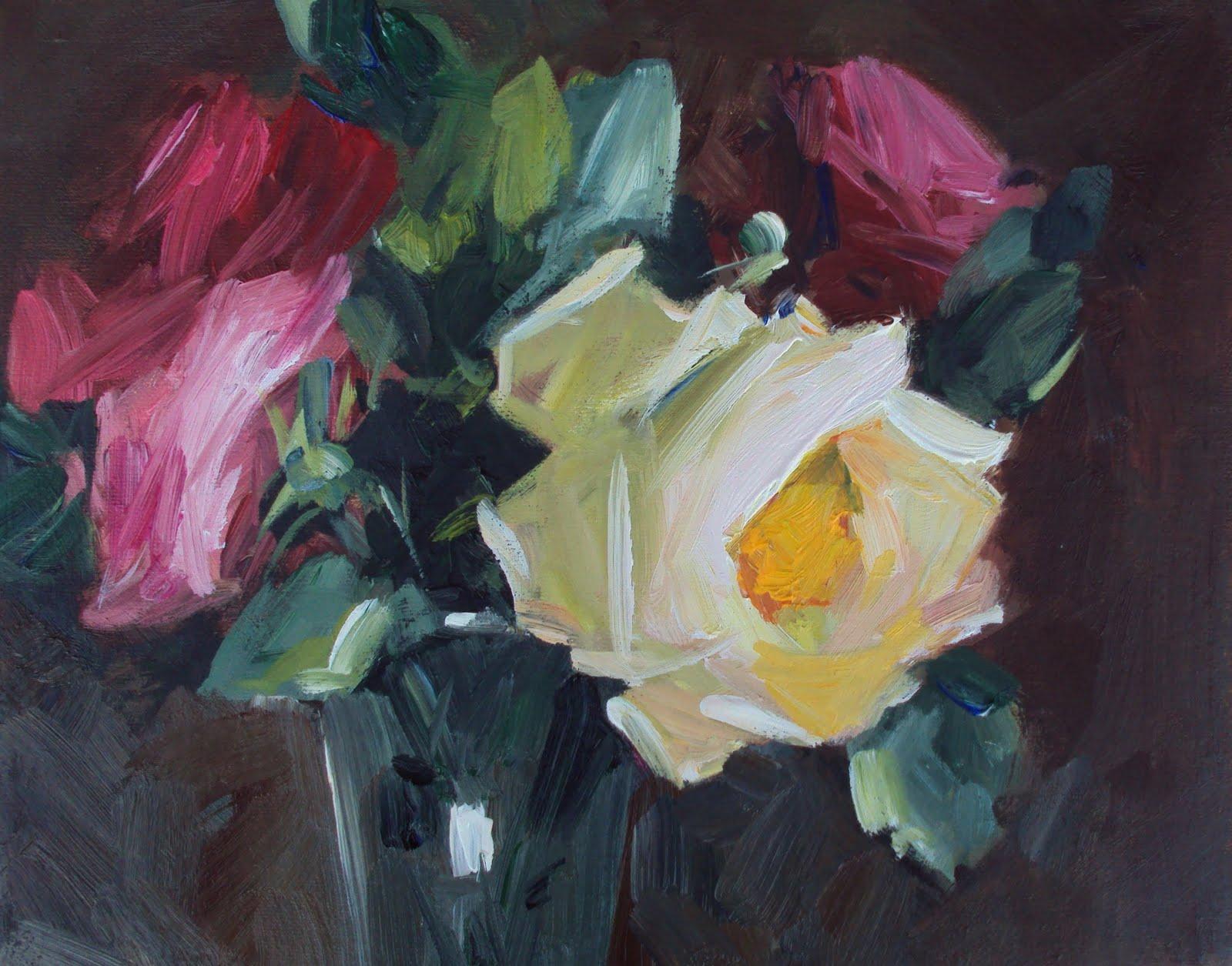 """English cottage roses"" original fine art by Parastoo Ganjei"