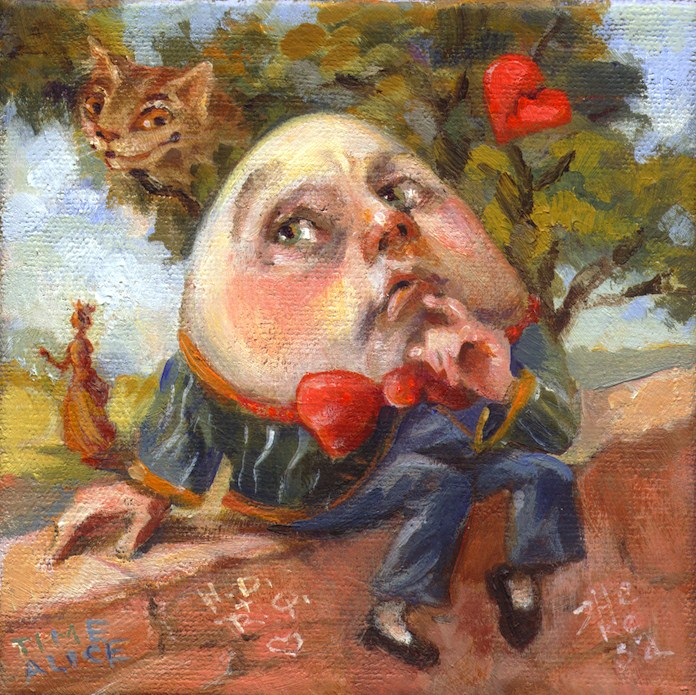 """""""Humpty in Love"""" original fine art by Theresa Taylor Bayer"""