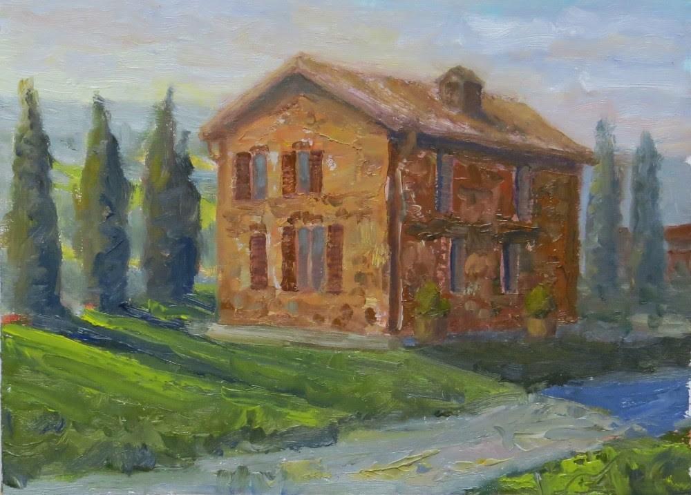 """""""La Crociona Farmhouse"""" original fine art by Richard Kiehn"""