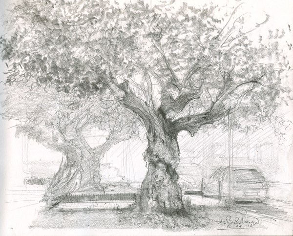 """Twin Trees on Maxwell Street (5) Chelsea Marathon"" original fine art by Adebanji Alade"