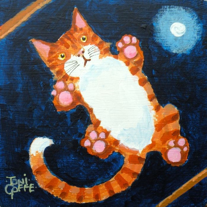 """""""Ginger on the roof"""" original fine art by Toni Goffe"""