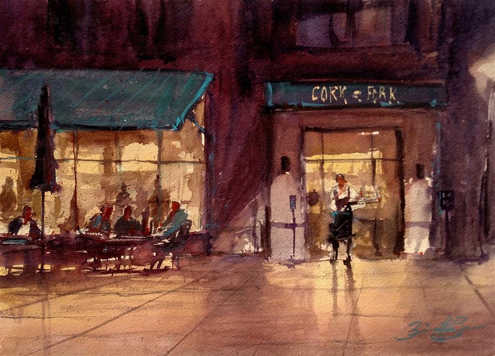 """The Cork & Fork"" original fine art by Brienne M Brown"